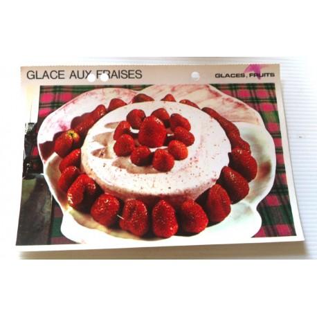 """FICHE CUISINE vintage rétro la bonne cuisine glaces,fruits """" glace aux fraises """""""