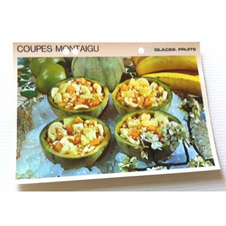 """FICHE CUISINE vintage rétro la bonne cuisine glaces,fruits """" coupe montaigu """""""