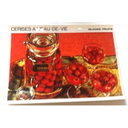 """FICHE CUISINE vintage rétro la bonne cuisine glaces,fruits """" cerises a l'eau de vie"""""""