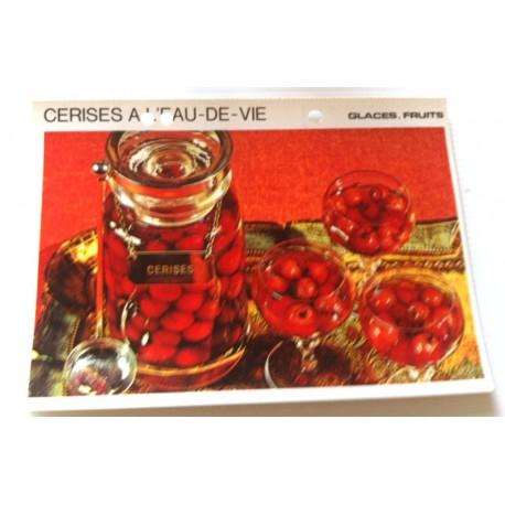 """FICHE CUISINE vintage rétro la bonne cuisine glaces,fruits """" cerises a l'eau de vie """""""