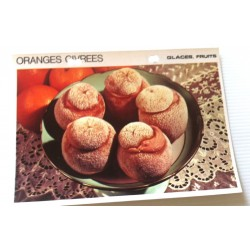 """FICHE CUISINE vintage rétro la bonne cuisine glaces,fruits """" oranges givrées"""" collection occasion"""