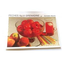 """FICHE CUISINE vintage rétro la bonne cuisine glaces,fruits """" pêches à la grenadine"""""""