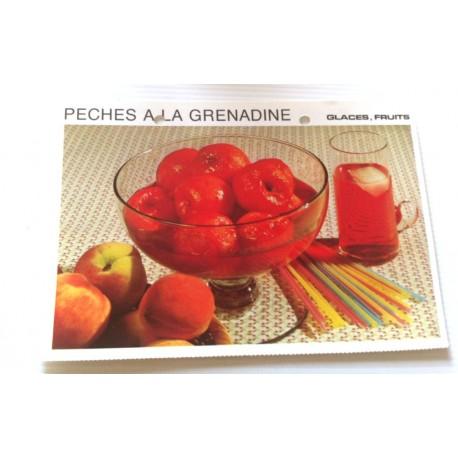 """FICHE CUISINE vintage rétro la bonne cuisine glaces,fruits """" pêches à la grenadine """""""
