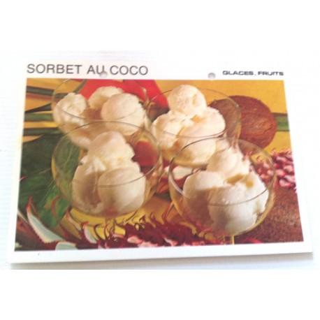 """FICHE CUISINE vintage rétro la bonne cuisine glaces,fruits """" sorbet au coco """""""