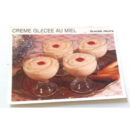 """FICHE CUISINE vintage rétro la bonne cuisine glaces,fruits """" crème glacé au miel """""""