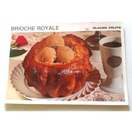 """FICHE CUISINE vintage rétro la bonne cuisine glaces,fruits """" brioche royale """""""