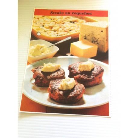 """FICHE CUISINE de ELLE vintage rétro par Madeleine Peter """"steaks au roquefort """""""