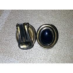 vintage !! ancienne paire de boucles d'oreilles nacré métal (05) origine et matiere inconnue
