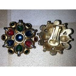 vintage !! ancienne paire de boucles d'oreilles nacré métal (10) origine et matiere inconnue