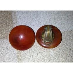 vintage !! ancienne paire de boucles d'oreilles nacré métal (12) origine et matiere inconnue