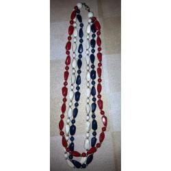 vintage !!ancien triple collier perles origine inconnue couleur bleu/blanc/rouge