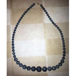vintage !! ancien collier perles origine inconnue couleur grise anthracique