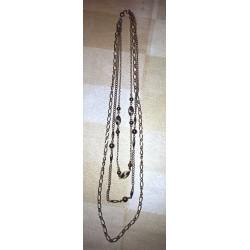 vintage !! ancien collier metal origine inconnue couleur or 3 en 1