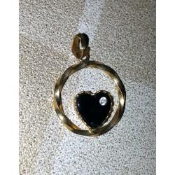 vintage!! ancien medaillon fantaisie coeur noire et nacré couleur or