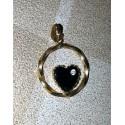 vintage!! ancien médaillon fantaisie cœur noire et nacré couleur or