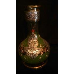 Ancienne bouteille a liqueur Maghreb arabe décoration étain fait main en verre