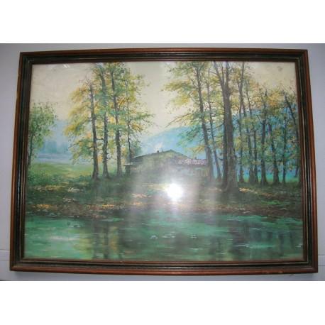 Ancien cadre contour bois marron 42.5x32.5 cm chalet au bord de l'eau
